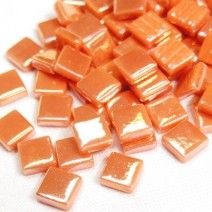 12mm Square Tiles - Apricot Pearlised - 50g