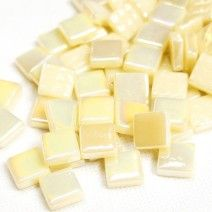 12mm Square Tiles - Cream Pearlised - 50g