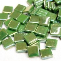 12mm Square Tiles - Dark Green Pearlised - 50g