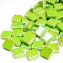 12mm Square Tiles - Green Grass Pearlised - 50g