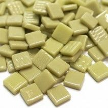 12mm Square Tiles - Light Khaki Green Gloss - 50g