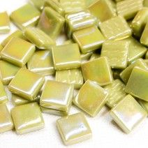 12mm Square Tiles - Light Khaki Green Pearlised - 50g