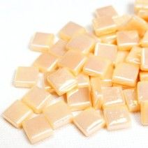 12mm Square Tiles - Light Peach Pearlised - 50g