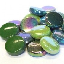 20mm Round Tiles - Dark Green Mix - 50g