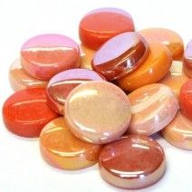 20mm Round Tiles - Orange Mix - 50g