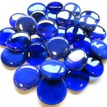 6 Extra Large Glass Pebbles - Blue Mix