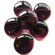 6 Extra Large Glass Pebbles - Deep Amethyst