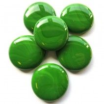 6 Extra Large Glass Pebbles - Green Marble