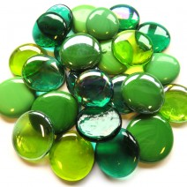 6 Extra Large Glass Pebbles - Green Mix
