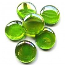 6 Extra Large Glass Pebbles - Lime Diamond