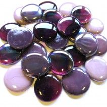 6 Extra Large Glass Pebbles - Purple Mix