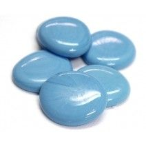 6 Extra Large Glass Pebbles - Turquoise Marble