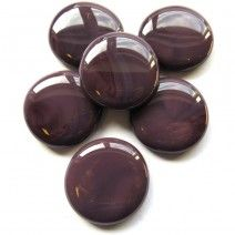 6 Extra Large Glass Pebbles - Violet Marble