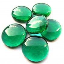 6 Large Glass Pebbles - Emerald Green Crystal
