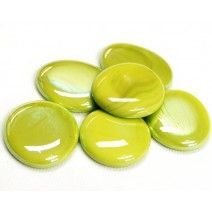 6 Large Glass Pebbles - Lime Opalescent