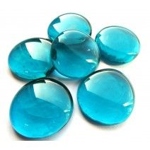 6 Large Glass Pebbles - Teal Crystal