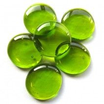 6 x Extra Large Glass Pebbles - Lime Crystal