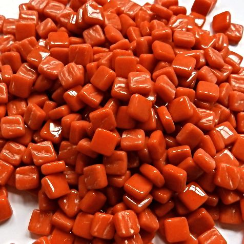 8mm Square Tiles - Burnt Orange Gloss - 50g