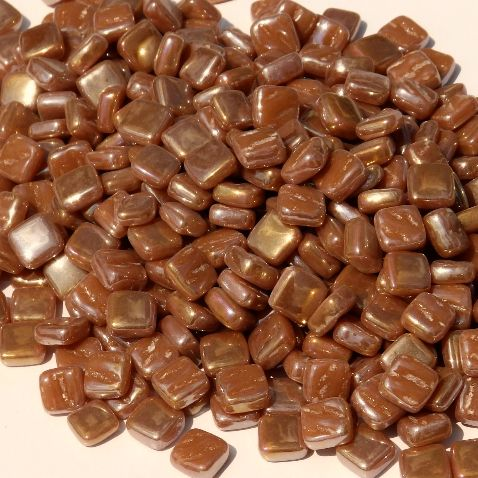 8mm Square Tiles - Caramel Pearlised - 500g