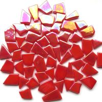 Snippets Glass Shapes - Coral Red Iridised - 100g